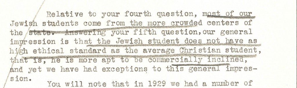 Excerpt from letter to Rabbi Morris Lazaron from the dean of the University of Kansas School of Medicine regarding Jewish medical students. Image courtesy of the Jacob Rader Marcus Center of The American Jewish Archives, MS 0071.037.016.