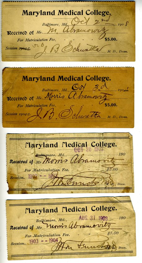 Tuition Receipts, Maryland Medical College. Gift in memory of Leonard J. Abramovitz, M.D. and Jeanne D. Abramovitz by their children, JMM 2001.26.54 a-d