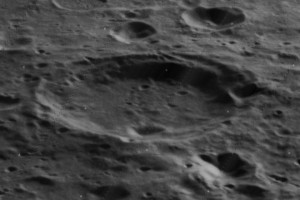 Oblique view of Cori (crater), on the moon. Reprocessed Lunar Orbiter 5 image.