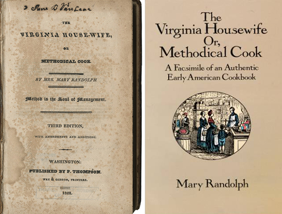 "Original and recent reprint covers of ""The Virginia Housewife."""
