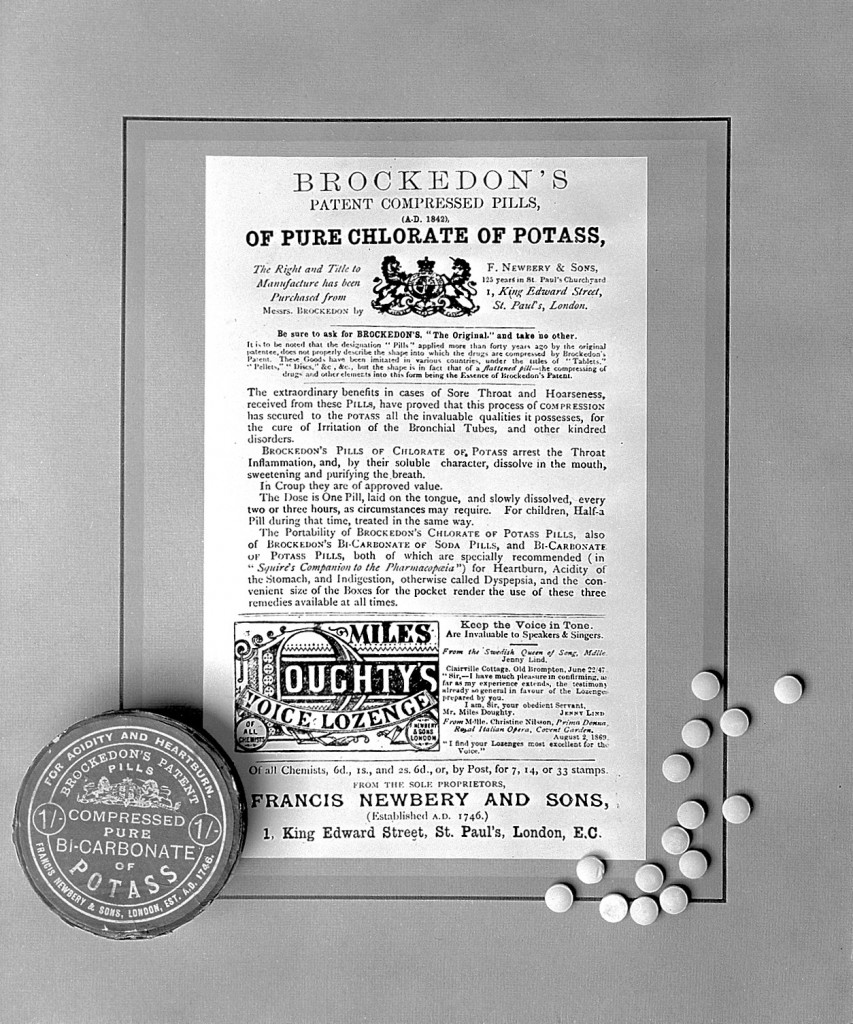 L0007312 W. Brockedon's pills Credit: Wellcome Library, London. Wellcome Images images@wellcome.ac.uk http://wellcomeimages.org W. Brockedon's pills: pills, pill-box, and leaflet advertising Brockedon's Patent Compressed Pills of Pure Chlorate of Potass and of Pure Bicarbonate of Potass. From the Wellcome Institute circa 1842 Published:  -  Copyrighted work available under Creative Commons Attribution only licence CC BY 4.0 http://creativecommons.org/licenses/by/4.0/