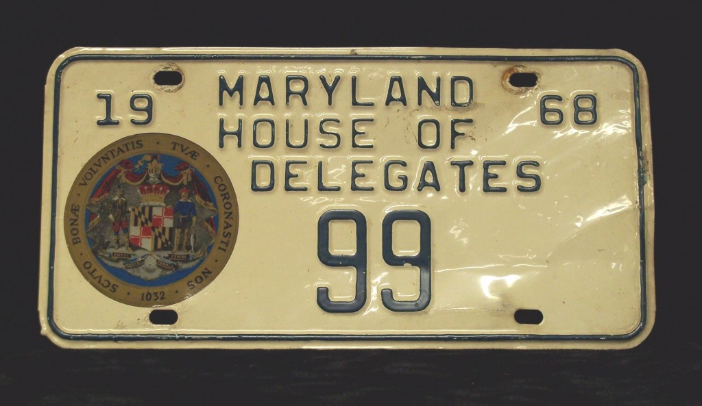 Delegate Abrams' first government license plate. Gift of Rosalie S. Abrams, Jewish Museum of Maryland. 1983.88.1