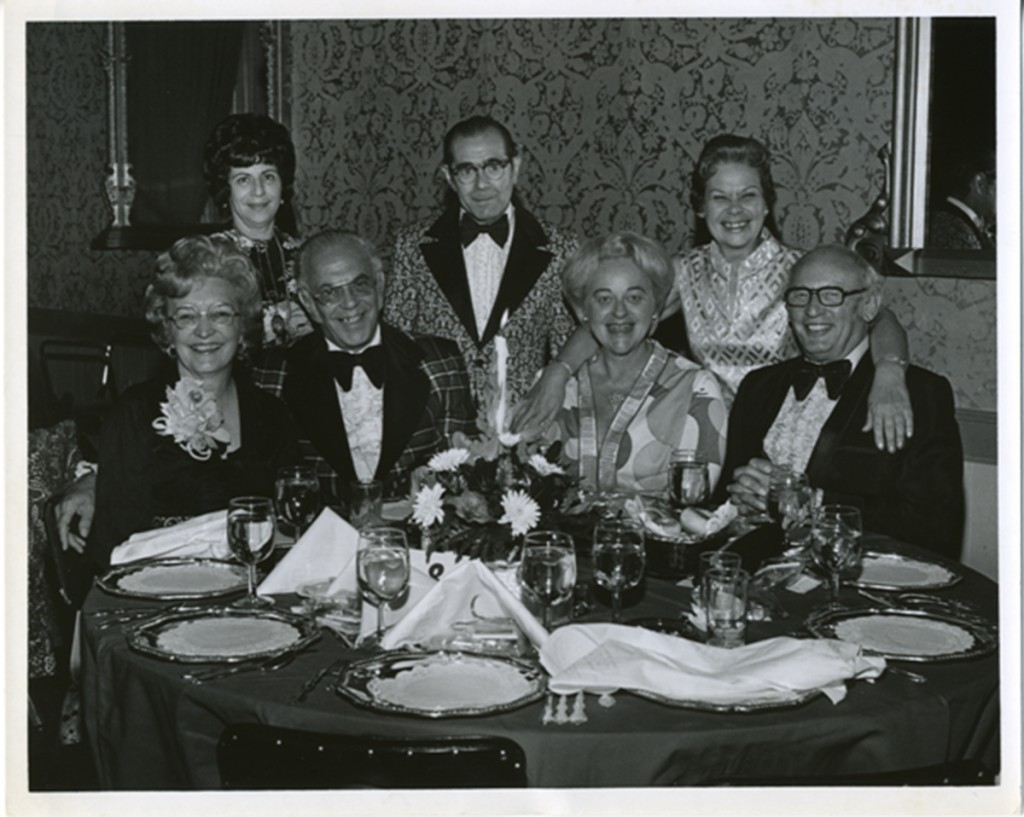 Senator Abrams remained active in the Sinai nurses alumnae association. Shown here attending the 1970 alumnae banquet with husband Will (seated far right) and friends Bonnie and Ray Raffel, Bertha Redo, and Wilma Rhodes. Gift of Nurses Alumnae Association of Sinai Hospital, Jewish Museum of Maryland. 2010.20.145