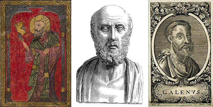 Dioscorides, Hippocrates, and Galen. Images via Wikipedia.