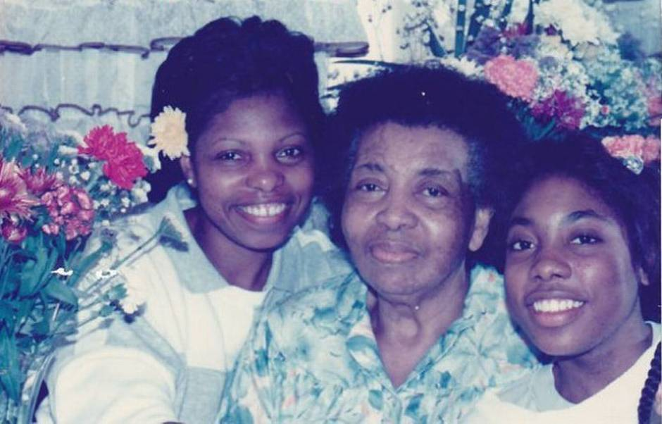 Myiesha, on right, with her mother, Carolyn Bartlett, her grandmother, Margaret Montgomery, c. 1990.
