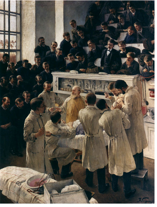Dr. Theodor Billroth's advances in surgical procedures and anesthesia made him a hero in his native Austria. When his diatribe against poor, inadequately educated and ambitious Eastern European Jewish medical students was published in 1876, his words carried great weight. He later softened his stance and even joined the Austrian League against anti-Semitism. Billroth's Lecture at Vienna's General Hospital, Adalbert Franz Seligmann, 1888-1890. Courtesy of Österreichische Galerie, © Belvedere, Vienna. CP5.2015.1