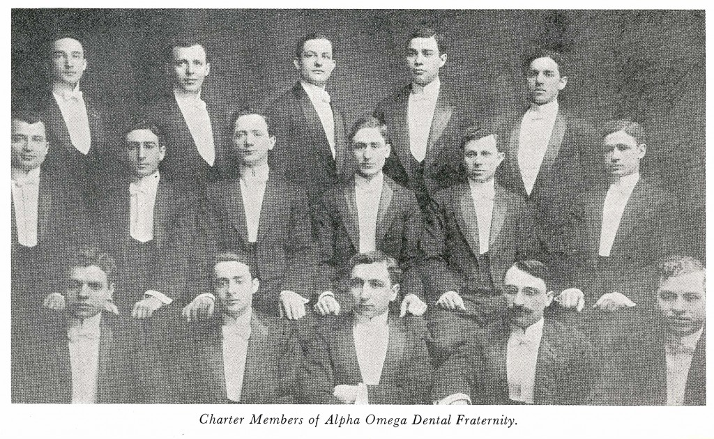 """In Baltimore at the Baltimore College of Dental Surgery organized under the leadership of Max W. Belzer was the Alpha Omega Dental Fraternity in 1908.  Their charter members were Samuel M. Neistadt, William H. Rosenfeld, Solomon Feldstein, Jacob Solomon, Maurice D. Liftig, Abraham Goberman, Morris Meyerson, Paul Steiner, David S. Robinson, Max Kahn, Charles Cohen, Nathan M. Berkowitz, Louis Levy, David Levin, Jacob M. Gordon, M. Sholkin, Jay M. Cornell and Nathan P. Yolken."" From Alpha Omega Fraternity, JMM 1985.58.1"