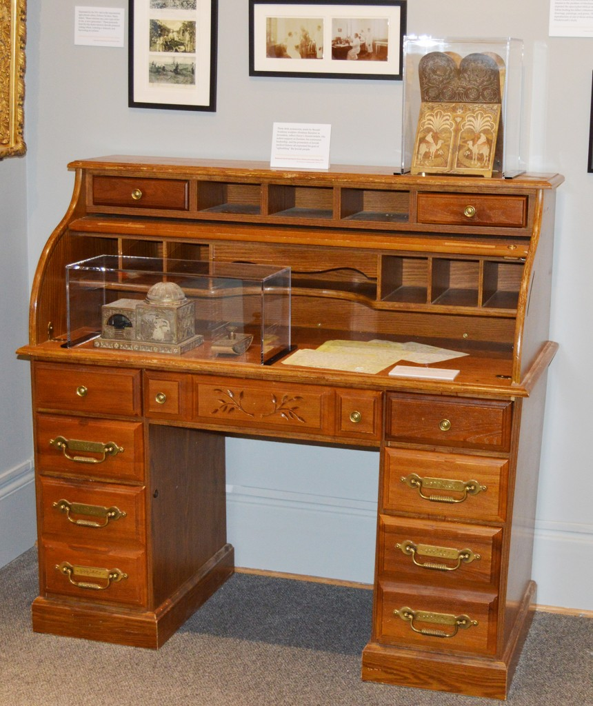 "Dr. Friedenwald's ""desk"" displayed in the exhibition.  On top are three pieces of a silver desk set, gift of Dr. and Mrs. Jacob Handelsman, JMM 1996.150.1, .3, .4"