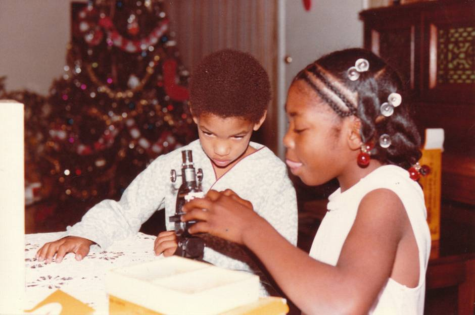 Myiesha developed an early interest in science and medicine. Shown here with her brother Marquis, c. 1985.