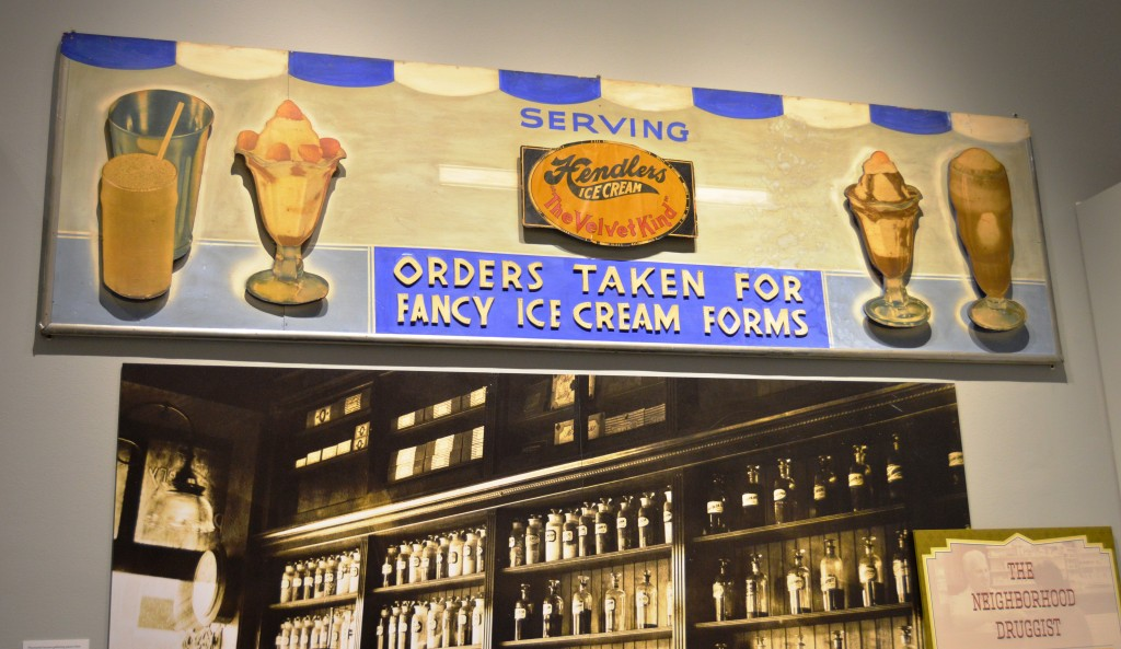 Hendler's ice cream advertising sign. Donated by Penny George and Mark Trunk. JMM 2016.1.1