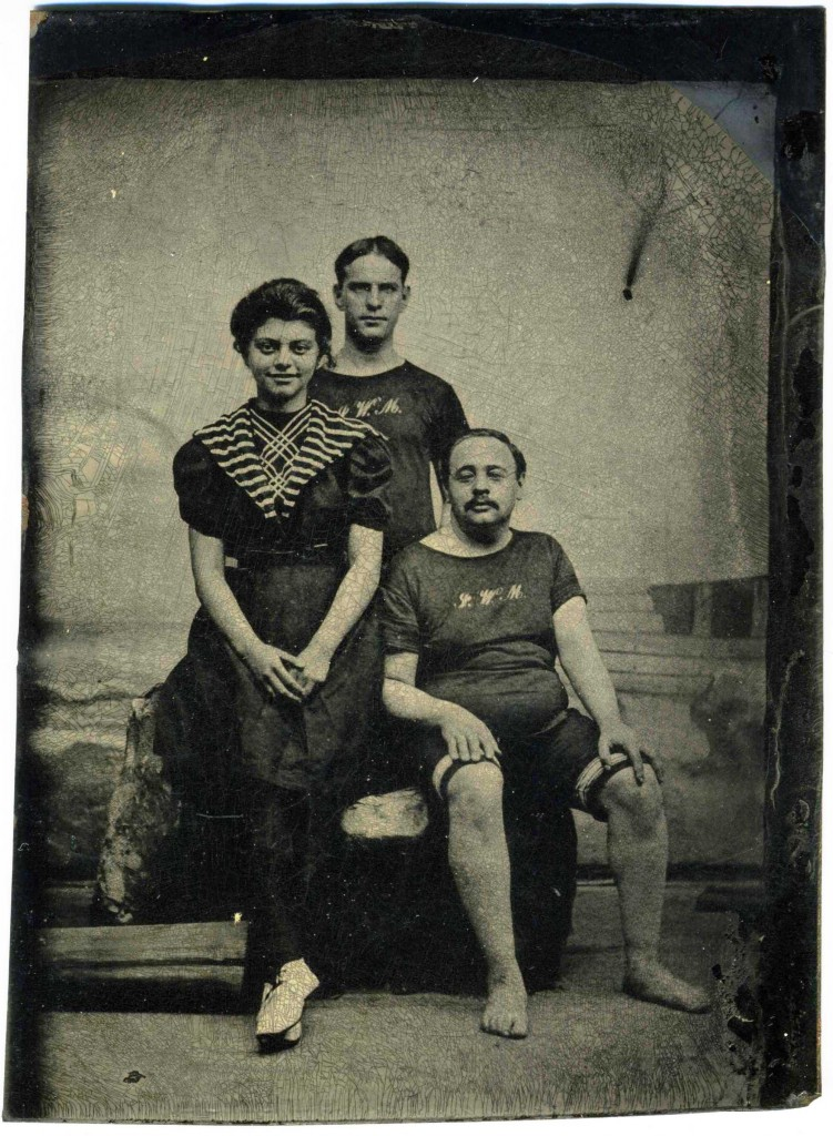 Siblings Gertrude and Hiram Fried of Baltimore, with friend Gus Rosenheim, Atlantic City, 1899. As these two pictures show, men's bathing suits of this era weren't exactly the pinnacle of streamlined comfort either, but at least the guys could skip stockings and shoes. Gift of Janice K. Friedman. JMM 1990.191.008