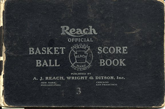 "The JEA Olympic Club's basketball score book, 1930-1933. ""Reach Official Basket Ball Score Book For Men and Women. Published by A.J. Reach, Wright & Ditson, Inc., New York - Philadelphia - Chicago - San Francisco. Copyright 1926.""  Gift of Jack Chandler.  JMM1992.231.340"