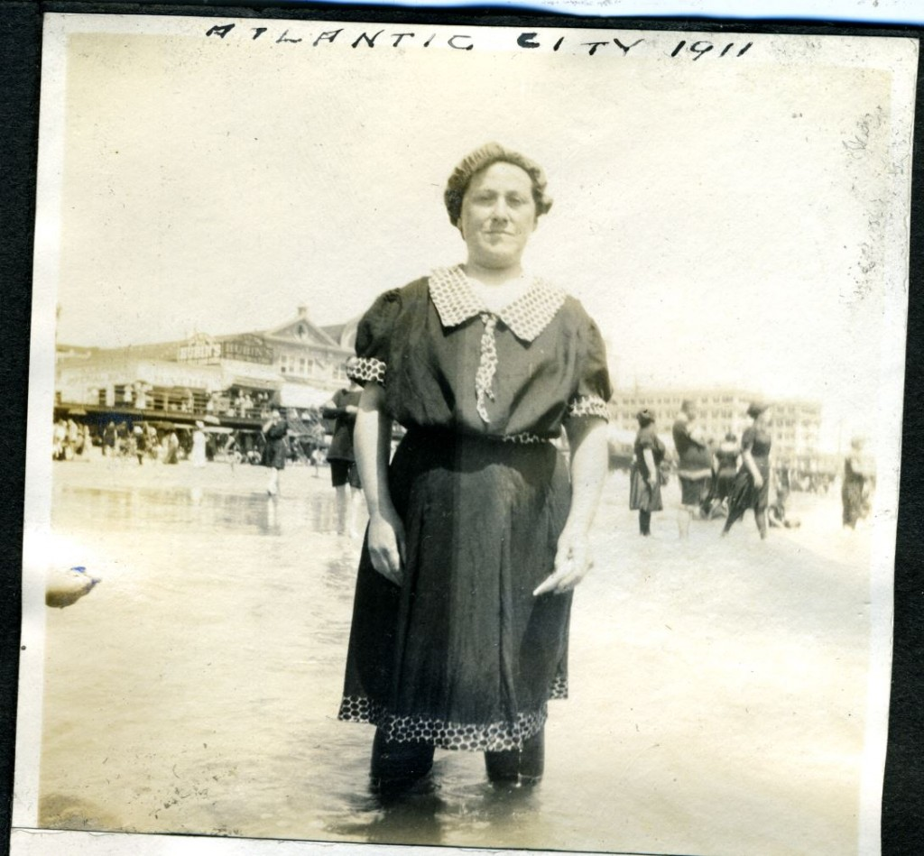 Not everyone seized upon the new style straight away. Here's Blanche Weinberg of Baltimore at Atlantic City, 1911. Gift of Jan L. Weinberg. JMM 1996.50.27p.7