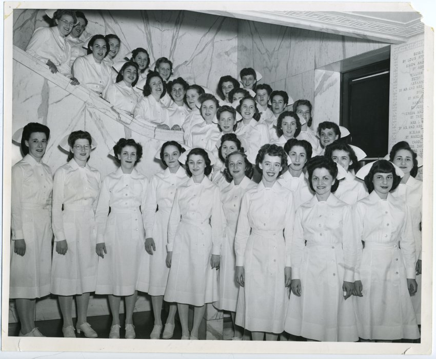 The Sinai Nursing School class of 1947. Gift of the Nurses Alumnae Association of Sinai Hospital. JMM 2010.20.43