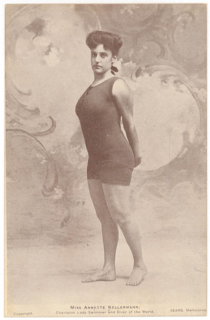 Annette Kellerman in one of her famous one-piece suits, circa 1905. Via Wikipedia