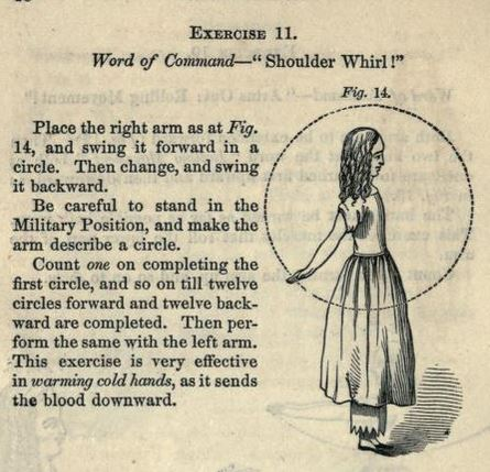"Exercise 11: ""Shoulder Whirl!"" From Physiology and Calisthenics for Schools and Families (Catherine Beecher, 1856), via archives.org."