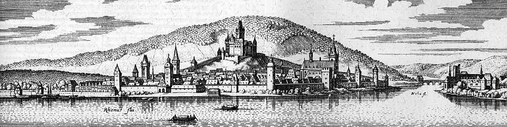 Bingen-on-the-Rhine by Matthäus Merian the Elder, 1655.