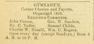 "A new gymnasium, ""founded in 1869,"" was listed in the 1870 edition of Wood's Baltimore City Directory. Via archives.org. [link: https://archive.org/stream/woodsbaltimoreci1870balt#page/n37/mode/2up]"