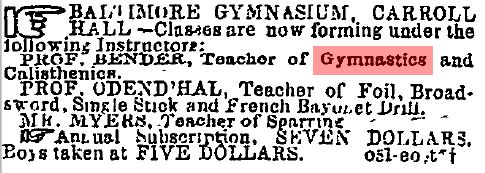 An advertisement for the Baltimore Gymnasium at Carroll Hall, from the Baltimore Sun, November 6, 1861. Note that the $7 annual subscription fee would be around $185 today.