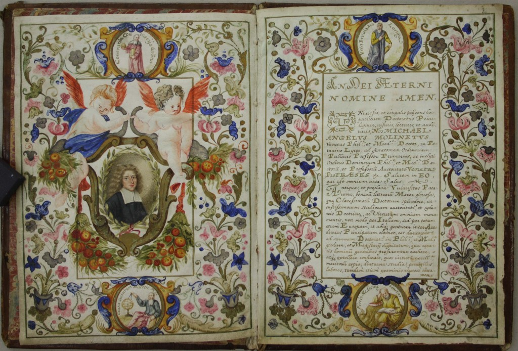 Medical diploma of Copilia Pictor (aka Jacob Mahler), University of Padua, 1695. Courtesy of the National Library of Israel, Jerusalem, Harry Friedenwald Collection. L2016.3.6. Also, illustration of Bingen in folder, with caption: Bingen-on-the-Rhine by Matthäus Merian the Elder, 1655.