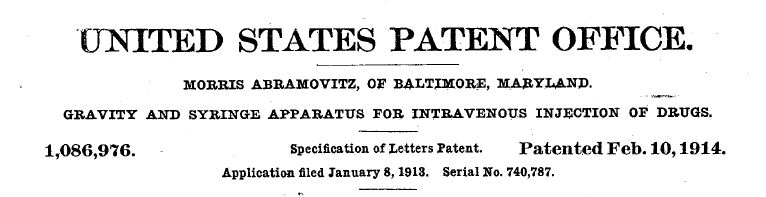 "Heading of Abramovitz's ""Specification of Letters Patent,"" 1914. Via Google Patents."
