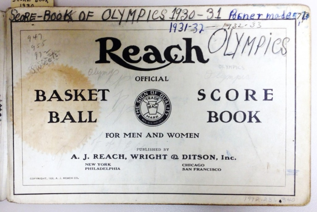 "Added to the publisher's title page is a hand-wrtten, team-specific title: ""Score-Book of Olympics 1930-31  1931-32   1932-33 OLYMPICS"" plus a quick note, ""Posner made 571"""