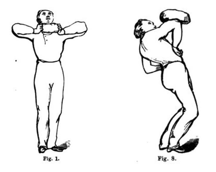This stalwart gentleman demonstrates two of the many beanbag exercises to be found in The New Gymnastics for Men, Women and Children (Dr. Dio Lewis, 1862), via Google Books.