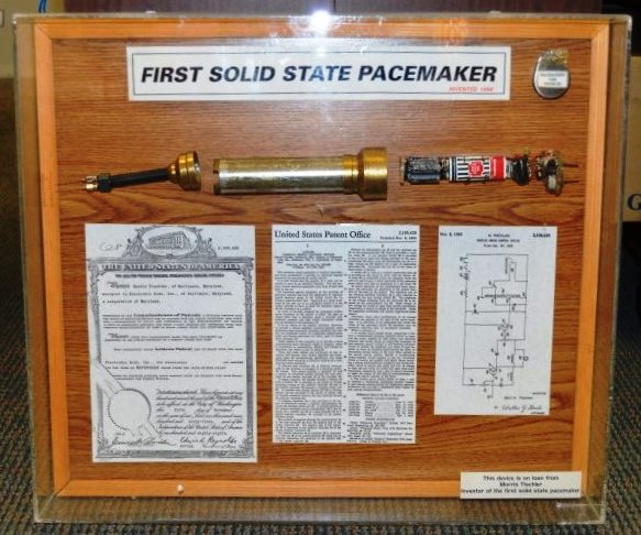 "Framed display, ""First Solid State Pacemaker, Invented 1958,"" by Morris Tischler. Gift of Marjorie Tischler. JMM 2013.7.1"