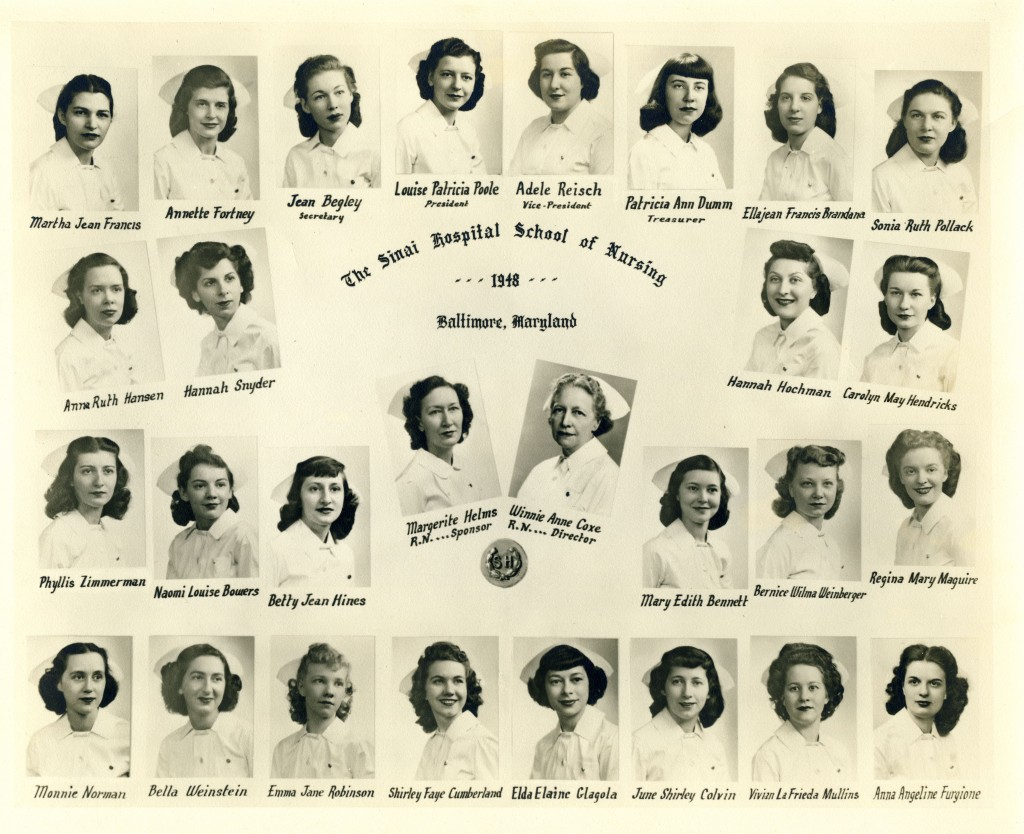This picture of the graduating class of 1948 identifies Ms. Coxe as Director of the Sinai Hospital School of Nursing.  Gift of the Nurses Alumnae Association of Sinai Hospital, JMM.  2010.020.080
