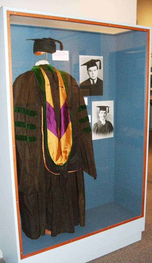 The cap, gown, and hood – collectively known as academic regalia [link: https://en.wikipedia.org/wiki/Academic_regalia_in_the_United_States] – have a long history in the U.S, though today they are typically worn only at commencement or other important school functions. Each element of color, shape, and decoration is meant to tell the viewer something about the wearer's educational achievements.
