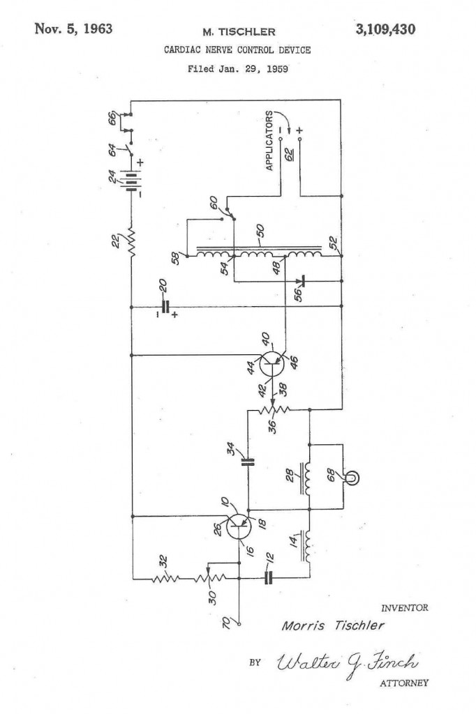 Diagram of Tischler's invention, U.S. Patent No. 3,109,430, via Google Patents