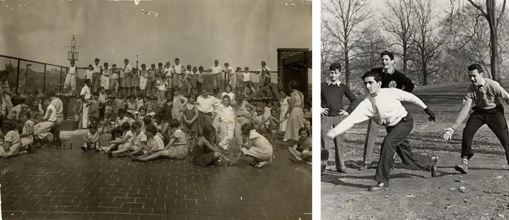 Left: A playground on the roof of the Jewish Educational Alliance building, 1934. Gift of Jack Chandler. JMM 1992.231.139 Right: Eddie Schunick, Melvin Kerber, Stanley Berngartt (Stanford Reed), and Robert Blaney playing softball in Druid Hill Park, 1938. Gift of Stanford C. Reed. JMM 1987.19.5