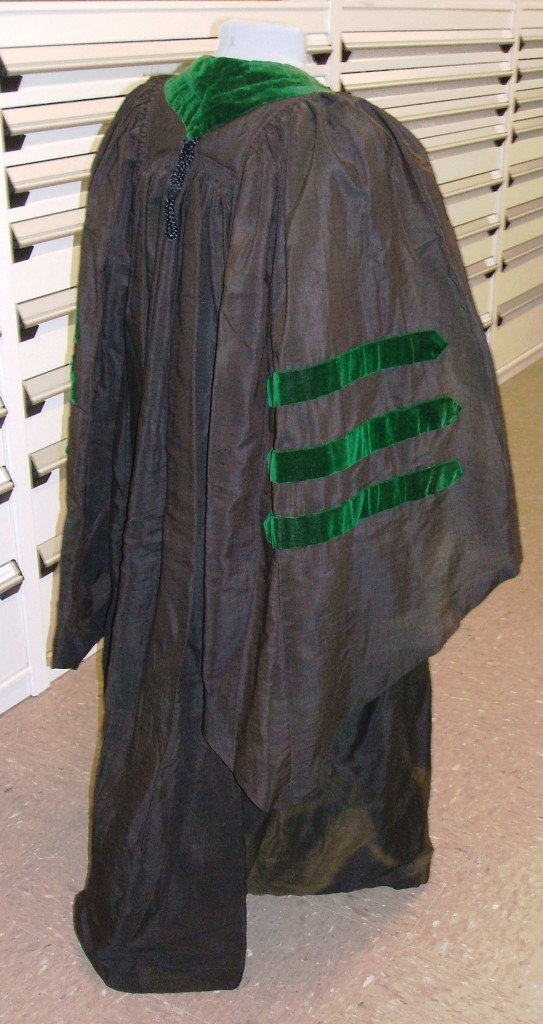 Side view of Dr. Friedenwald's doctoral gown. Anonymous donation. JMM T1989.114.1