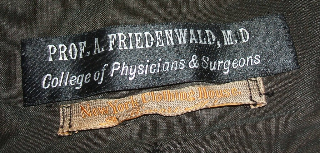 "Labels: ""Prof. A. Friedenwald, M.D. / College of Physicians & Surgeons"" and ""New York Clothing House"""