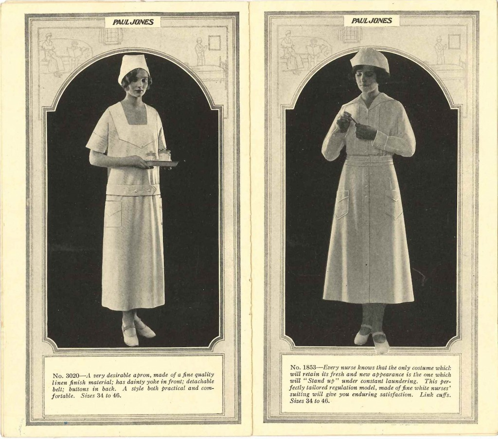 "Two ""nurses' costume"" options from the Paul Jones (Morris & Co.) catalog, 1924.  Gift of Moses Morris, Jr. JMM 1991.108.24"
