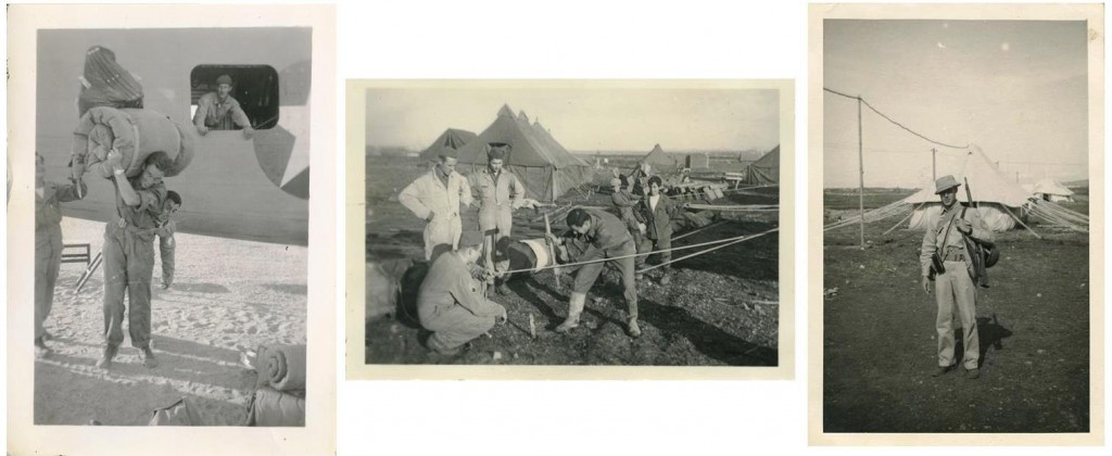 Three snapshots of his fellow GIs – carrying a bedroll, pounding in tent stakes, and loaded up with equipment - taken by Arthur Gutman, circa 1942. Gift of Arthur Gutman. JMM 1998.24.13, .367, .177